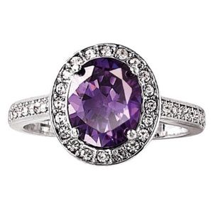 Amethyst purple gemstone ring Size 6 NWT